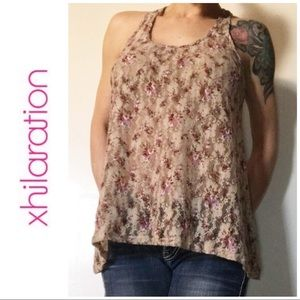 Xhilaration Tan Pink Floral Lace Tank Top Large L